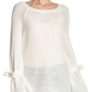 Project Naadam Open Knit Bell Sleeve Sweater Sz M